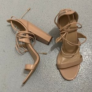 Charlotte Russe - Cassie Lace Up Heel - Nude